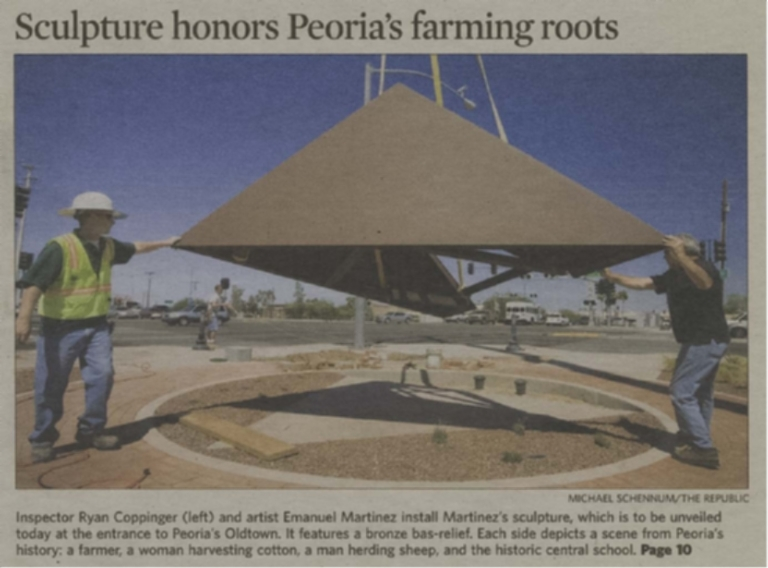 Sculpture honors Peoria's farming roots / Pioneer memorial unveiling planned today at Oldtown