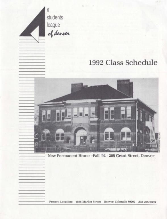 Art Students League of Denver 1992 Class Schedule