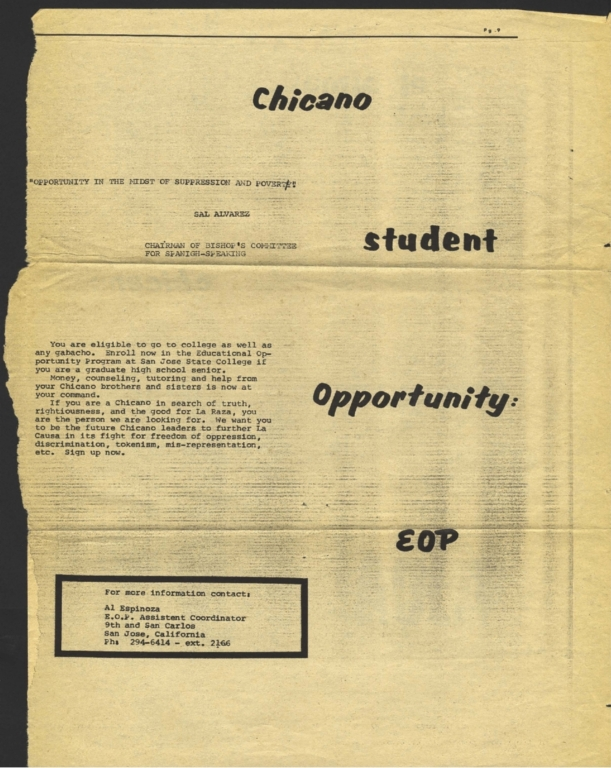 Page from El Machete. Recto: Chicano Student Opportunity: EOP (Educational Opportunity Program) at San Jose State College. Verso: Poem. El alma chicana ajúa.