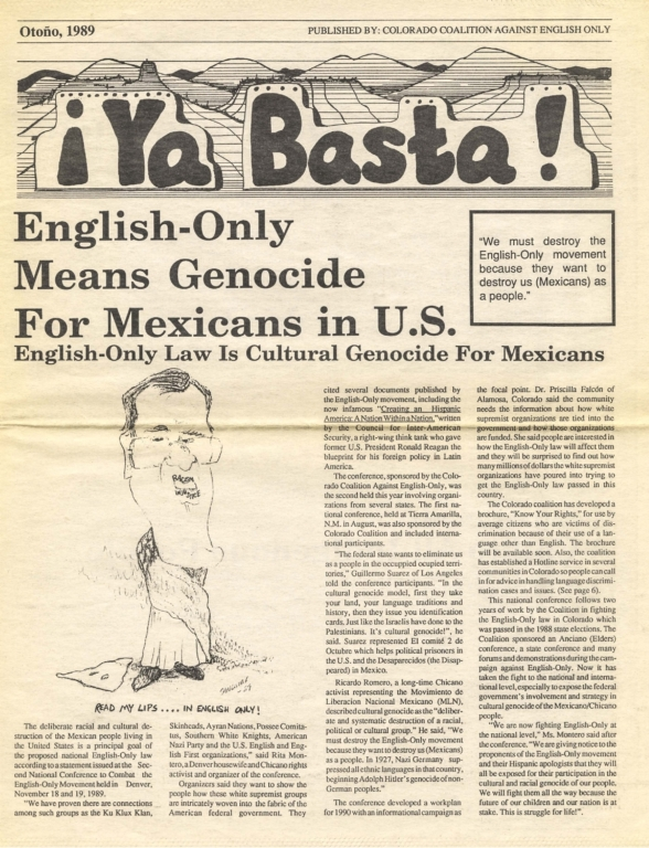 Ya Basta: English-Only Means Genocide For Mexicans in U.S.